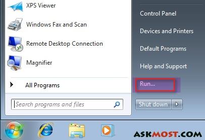 طريقة اضافة الامر run فى ويندوز ٧ بالصور run command for windows 7