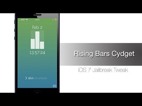 طريقة تغيير شكل الساعة في الايفون| iOS7 Rising Bars Cydget