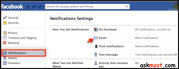 ايقاف رسائل الفيس بوك على الايميل-01