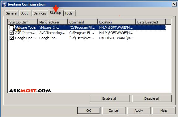 التحكم فى البرامج عند فتح الكمبيوتر-2