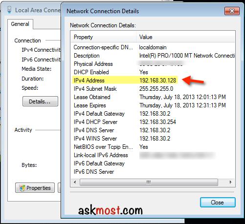 كيفية معرفة الاي بي الخاص بي ويندوز 7 بالصور Ip Address In Windows 7