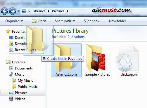 Favorites section in Windows