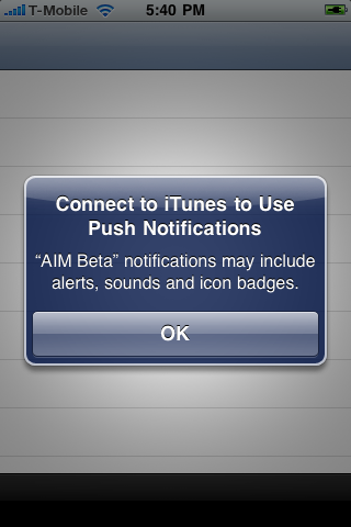 connect to itunes to use push notifications fix