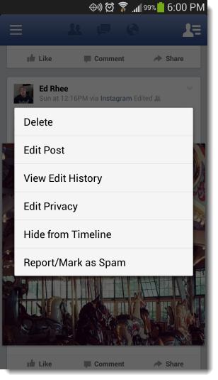 تعديل البوست فيس بوك