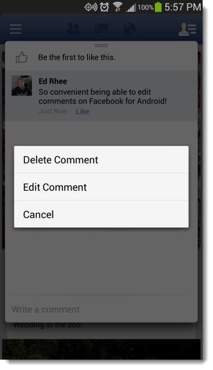 تعديل التعليق في الفيس بوك