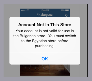 account not in this store ios 7