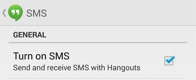 disable sms in Hangouts