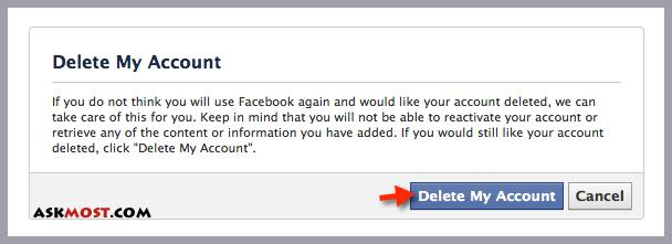 صورة عنوانها Permanently Delete a Facebook Account Step 2