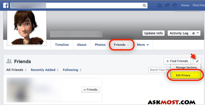 اخفاء الاصدقاء بالفيس بوك 2014